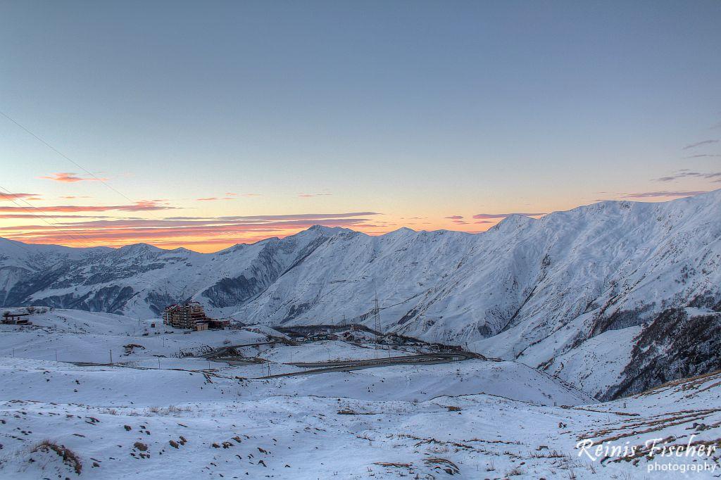 Sunset in Caucasus mountains in Gudauri
