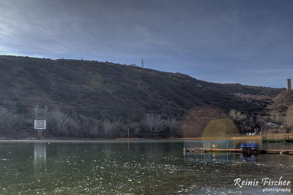 Frozen Turtle lake in Tbilisi