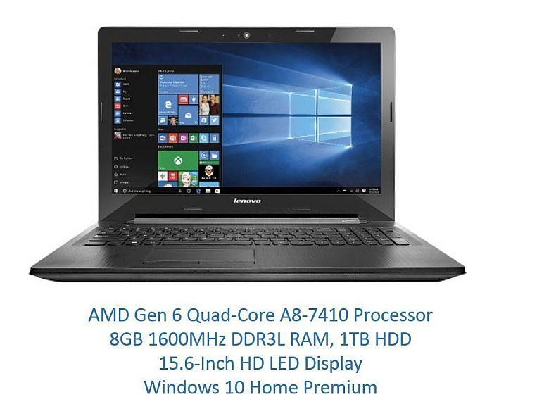 2016 Newest Lenovo G51 15.6-Inch Laptop (AMD Gen 6 Quad-Core A8-7410 CPU 2.2GHz up to 2.50GHz, 8GB DDR3 RAM 1TB HDD, DVDRW, Webcam, HDMI, USB 3.0, Bluetooth, 802.11ac WiFi, Dolby Audio, Windows 10)