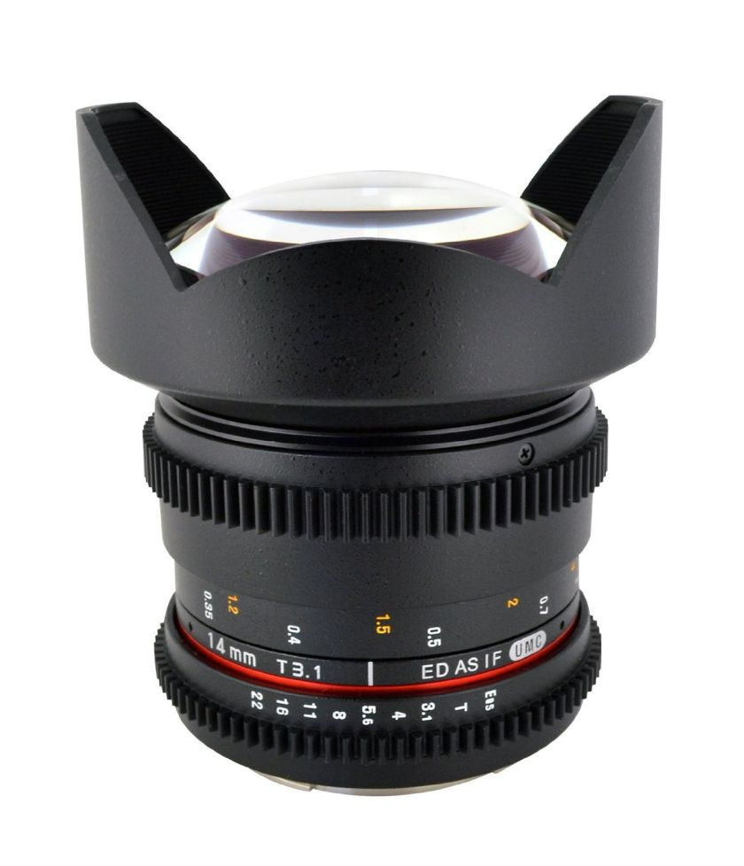 Rokinon Cine CV14M-C 14mm T3.1 Cine Wide Angle Lens for Canon with De-Clicked Aperture and Follow Focus Compatibility 14-14mm Wide-Angle Lens
