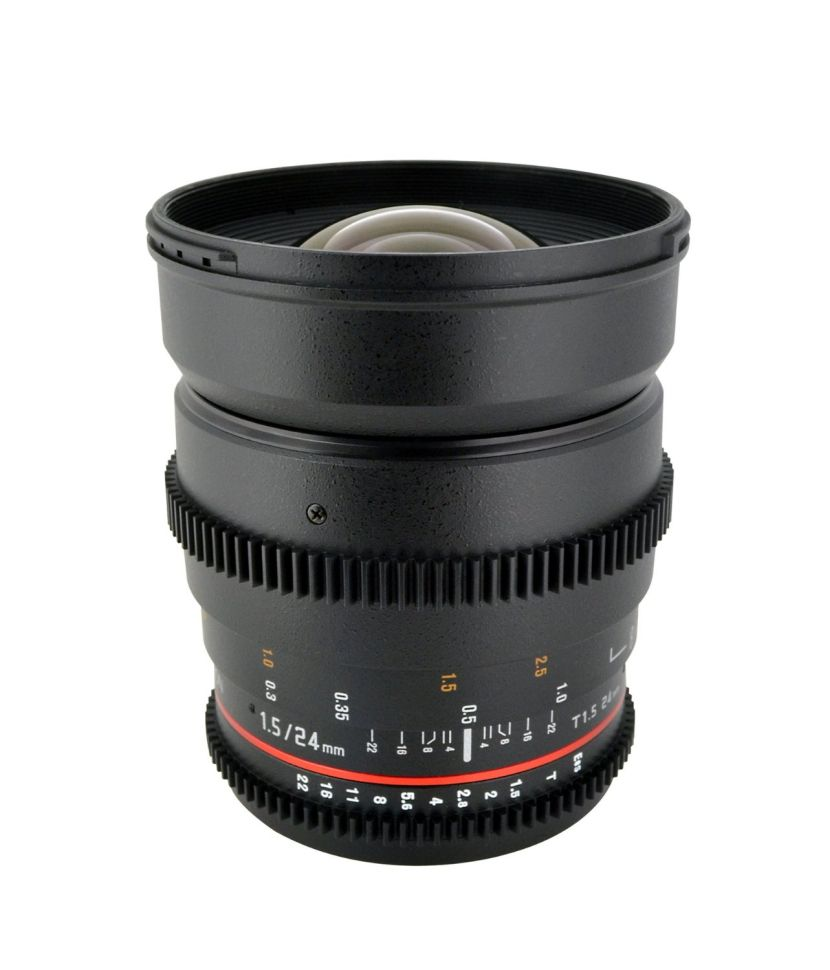 Rokinon CV24M-C 24mm T1.5 Cine Wide Angle Lens for Canon with De-Clicked Aperture and Follow Focus Compatibility