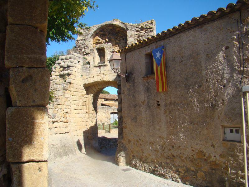 Catalan flag on streets of  Peratallada