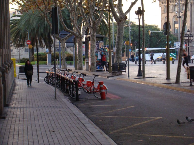 Bicycles on streets of Barcelona
