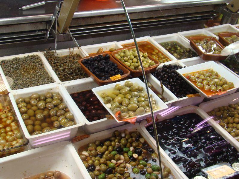 Olives at La Boqueria Market in Barcelona