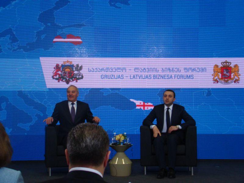 Latvian President Andris Berzins and Georgian Prime Minister Irakli Garibashvili