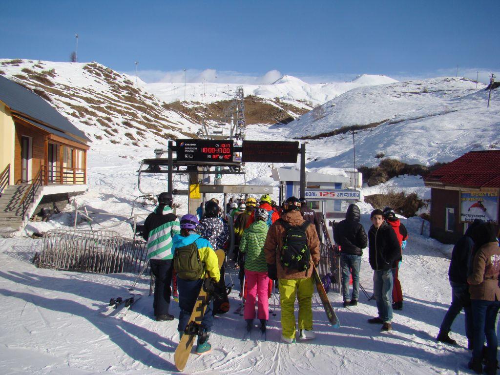 Waiting in a line for a Gudauri mountain lift