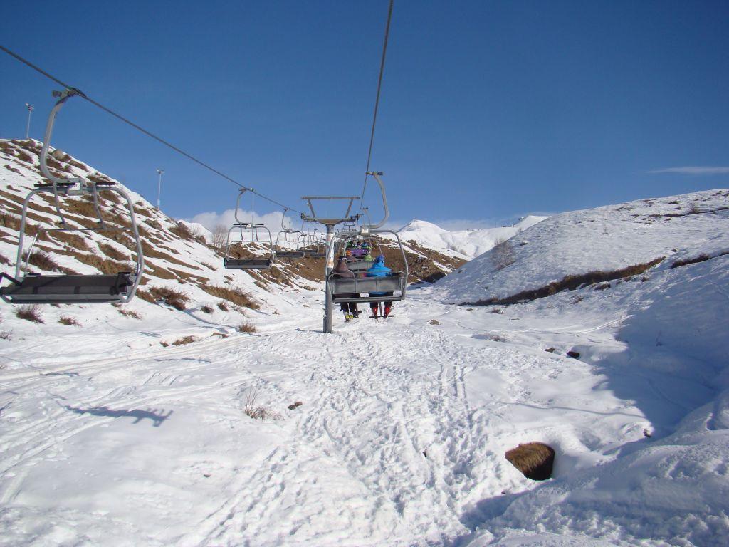 Open cabin ski lifts at Gudauri