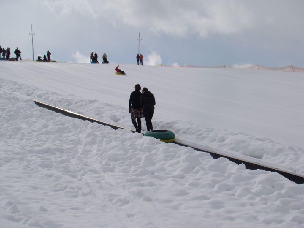 Snow tube riding at Gudauri