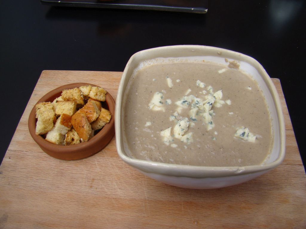 Creamy Mushroom Soup With Blue Cheese Toasts Recipe — Dishmaps