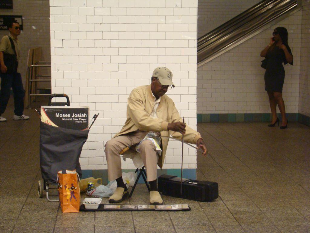 Street musician in Manhattan's subway