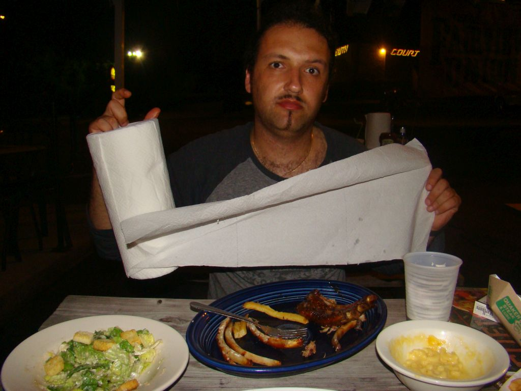 Author of this blog eating pork ribs