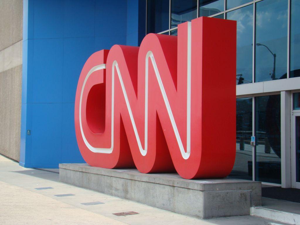 CNN logo at CNN Center in Atlanta, Georgia