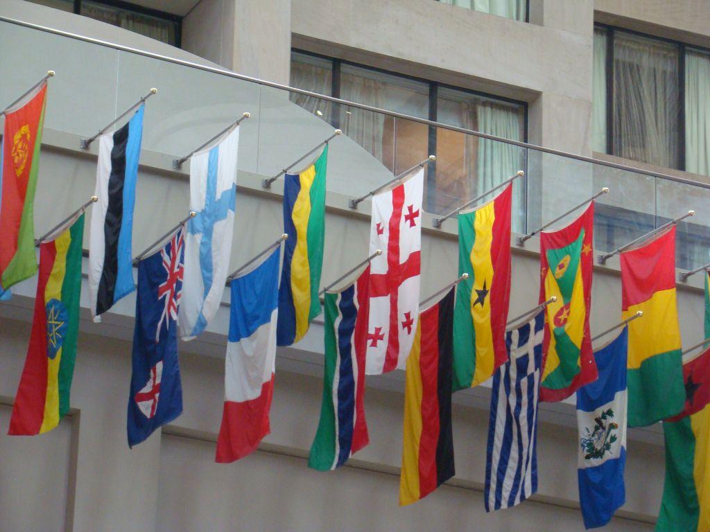 Flags of all Nations inside CNN Studio