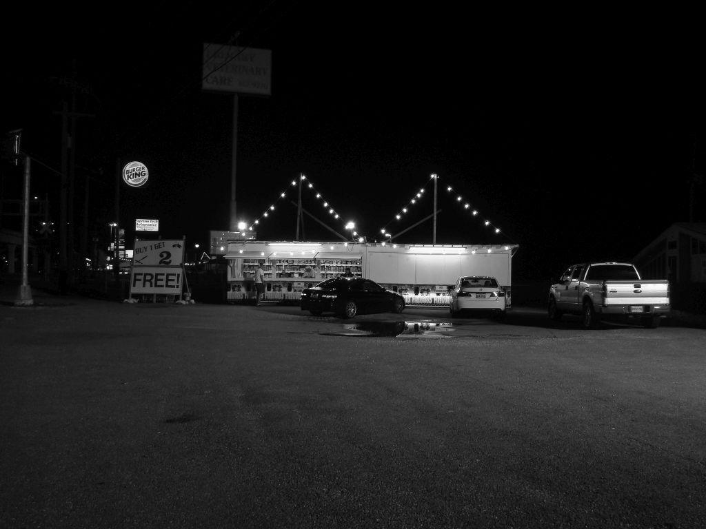 Gretna Fireworks store in B&W