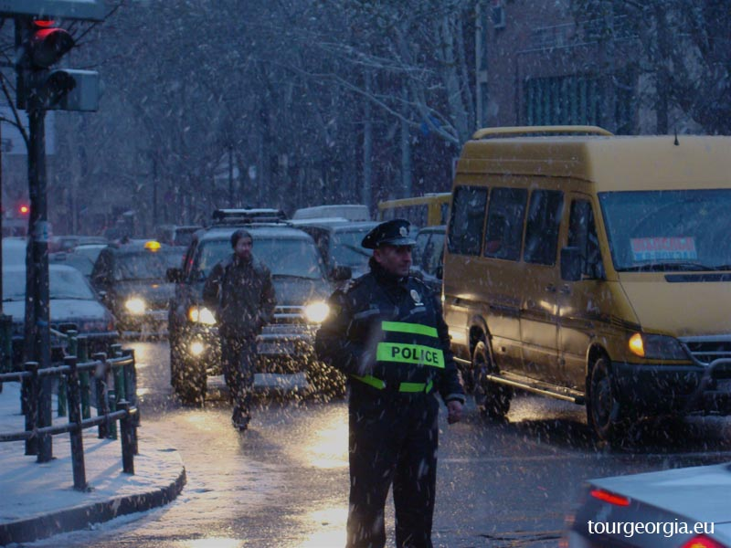 Police patrol in Tbilisi streets