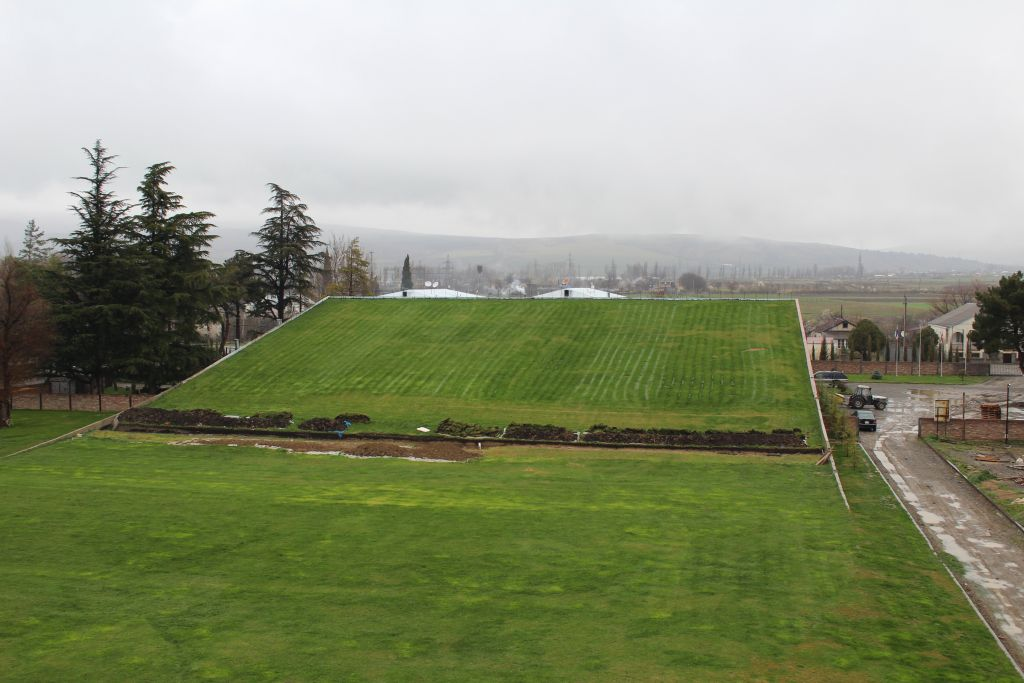 Grass covering rooftop at Château Mukhrani wine cellars