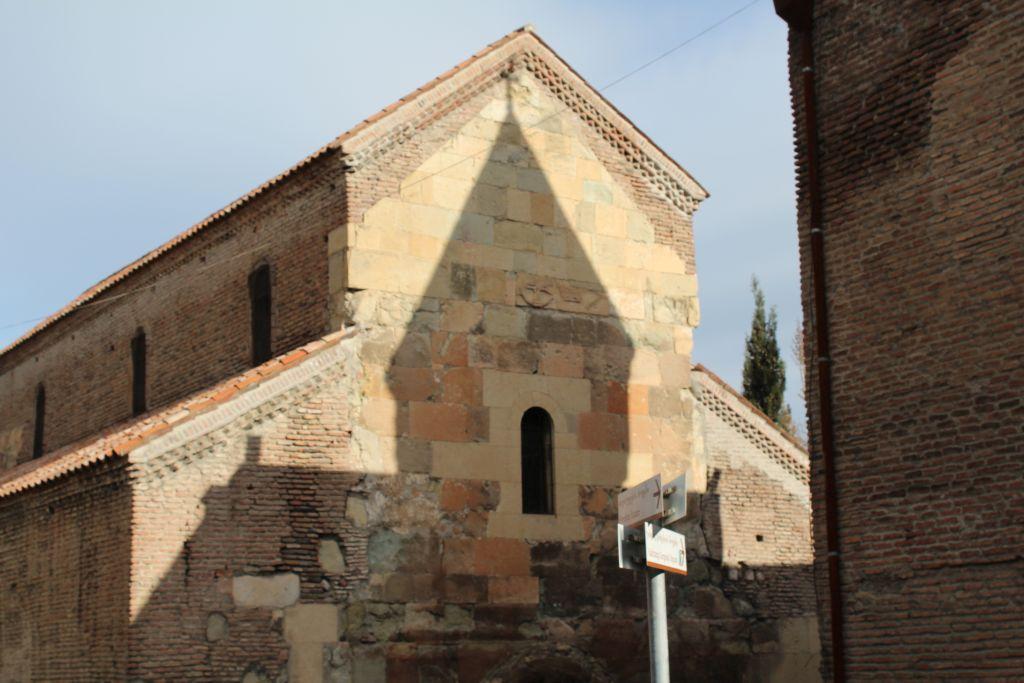 Shadow of Anchiskati Bell Tower falling on Basilica