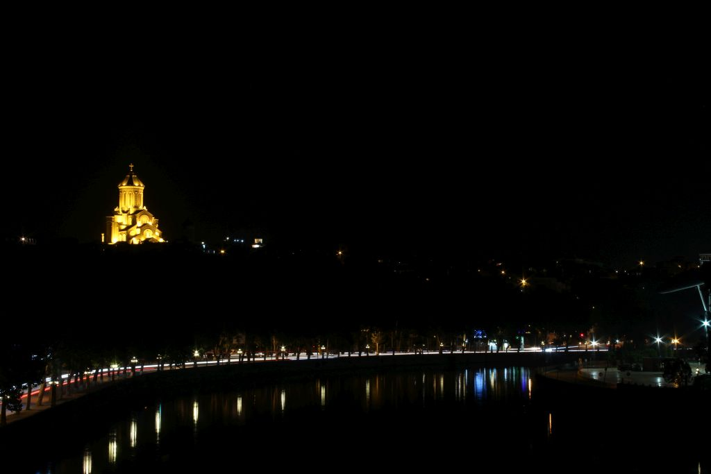 Sameba Cathedral in Tbilisi by night