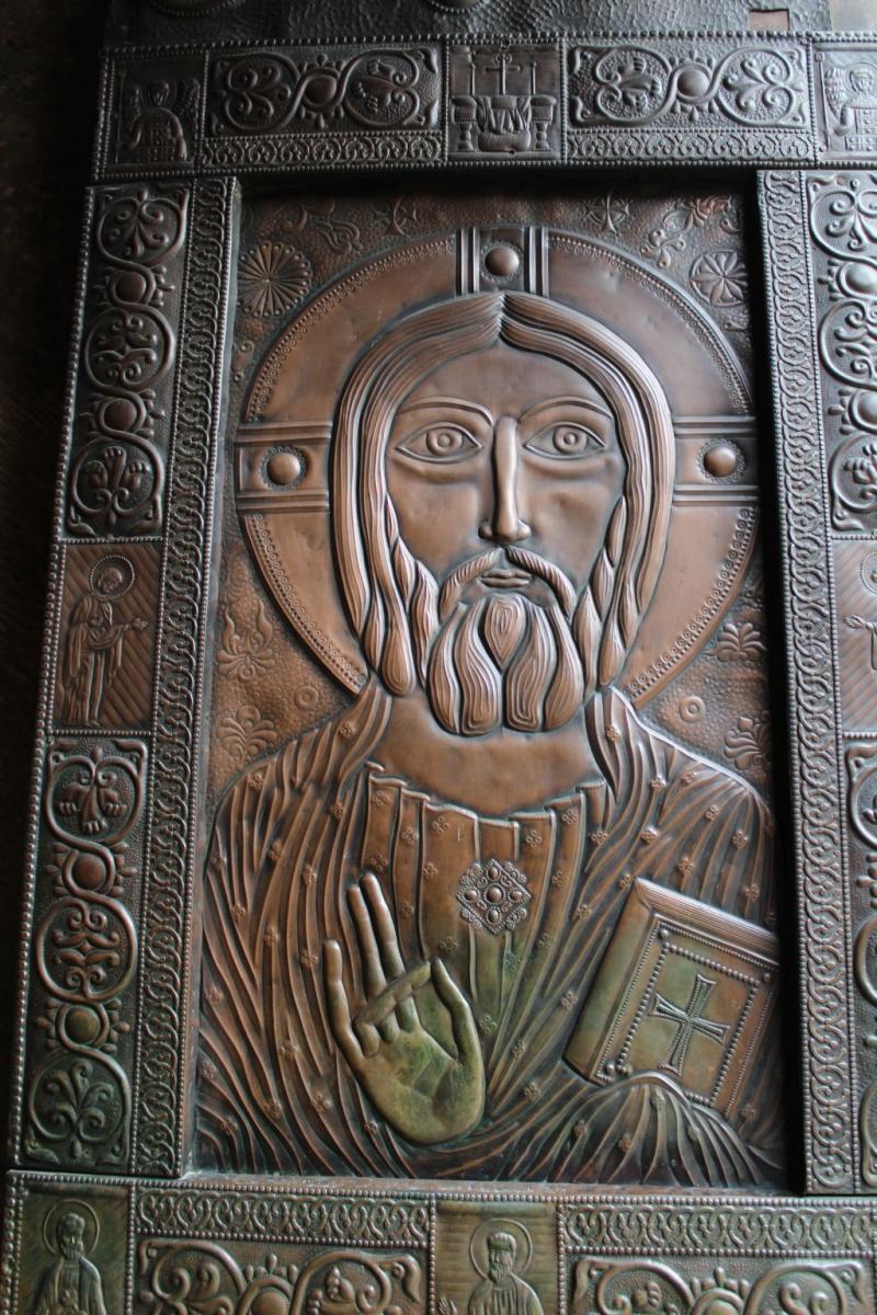 Engraving of Jesus Christ on entrance doors