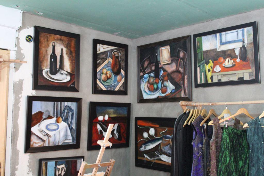 Paintings and dresses at Kon - Tiki Art Studio