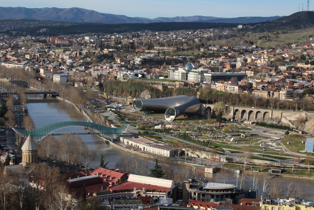 Viev from Narikala footsteps to Tbilisi city