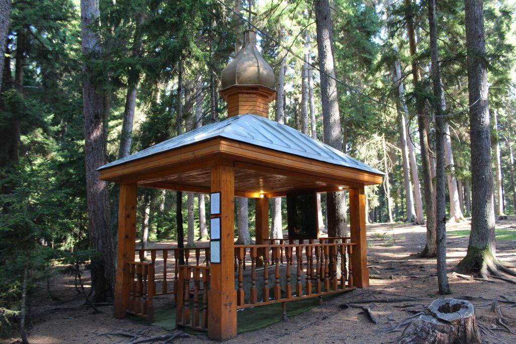 Wooden temple on site