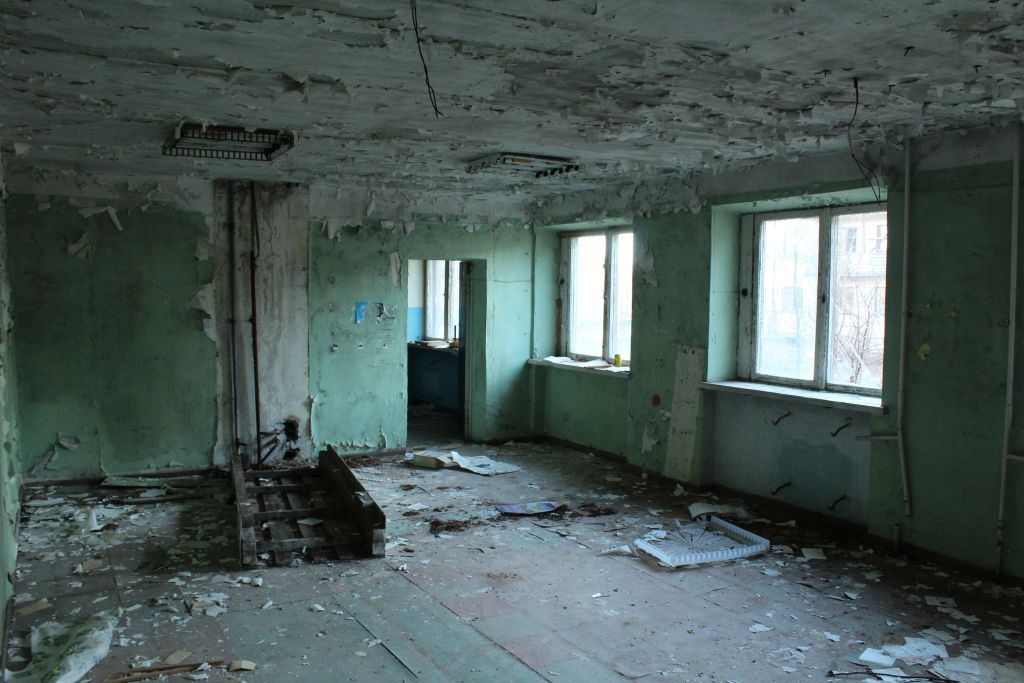 Abandoned and demolished flat at Skrunda Ghost Town