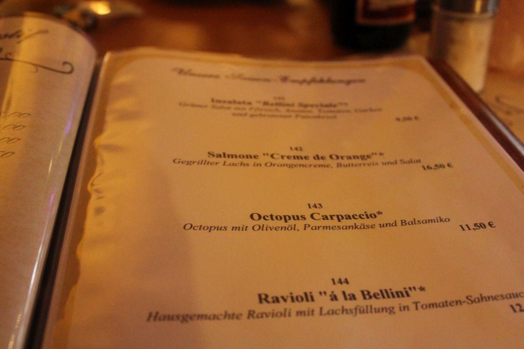 Menu at Restaurant Bellini