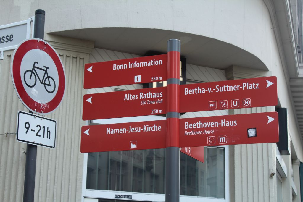 Plenty of tourist signs won't let you get lost in city of Bonn