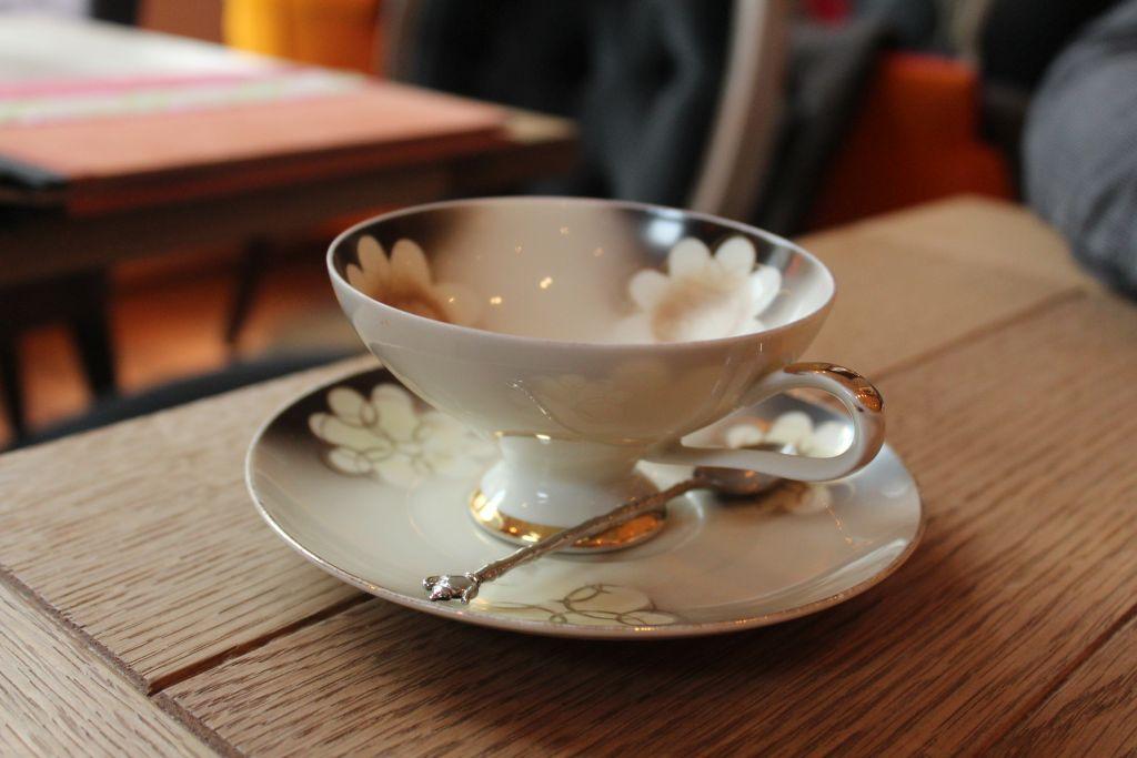 Porcelain cups at First Flush Tea Room