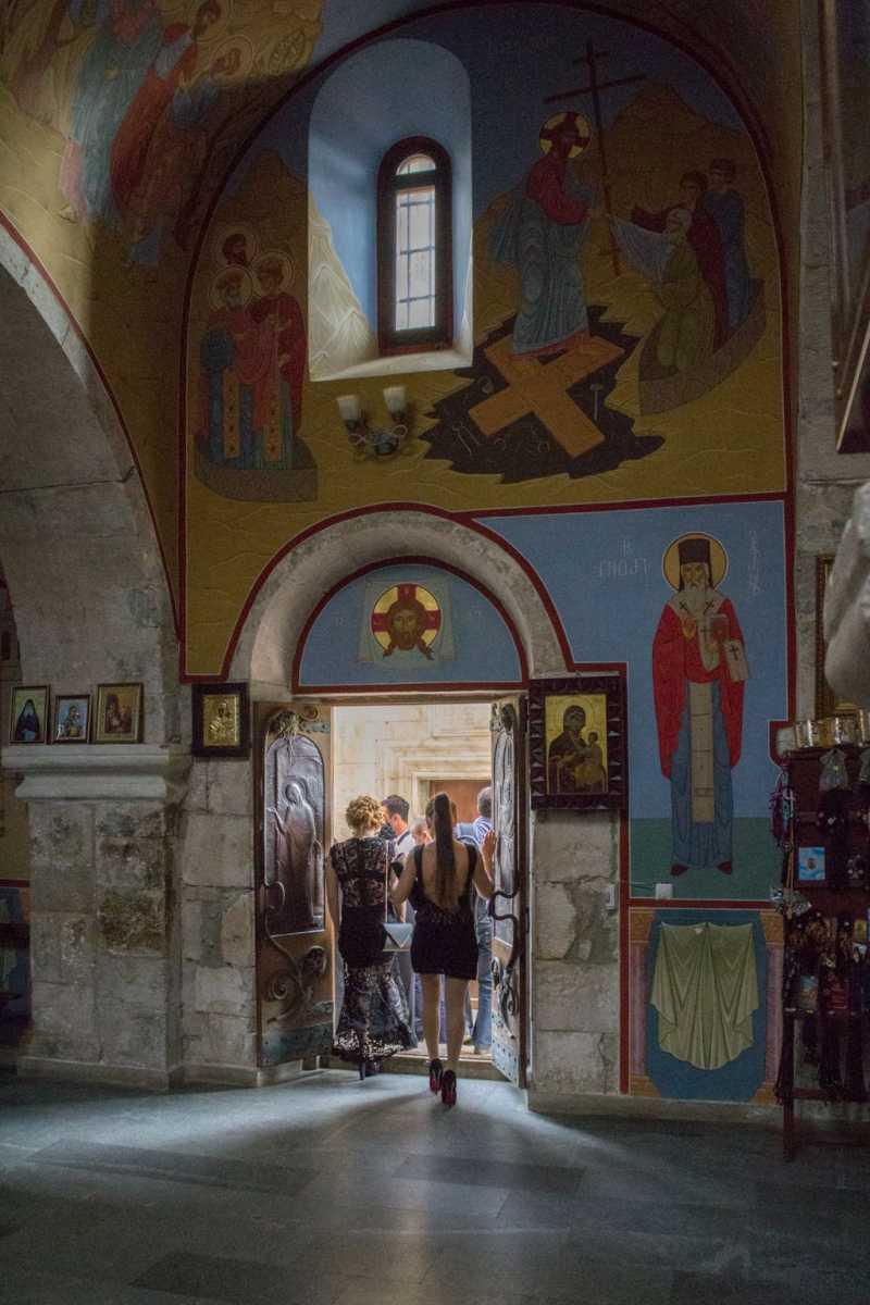 Visitors at Motsameta monastery complex