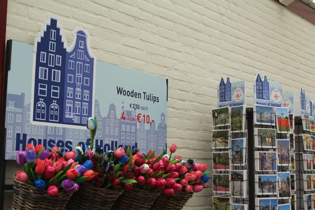 Wooden tulips for sale at Keukenhof