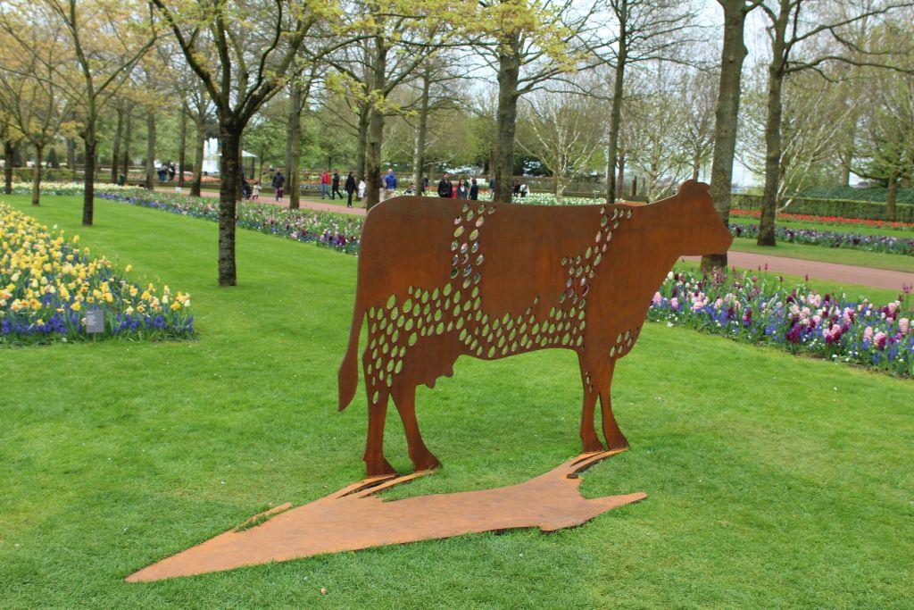 A cow in Keukenhof's garden