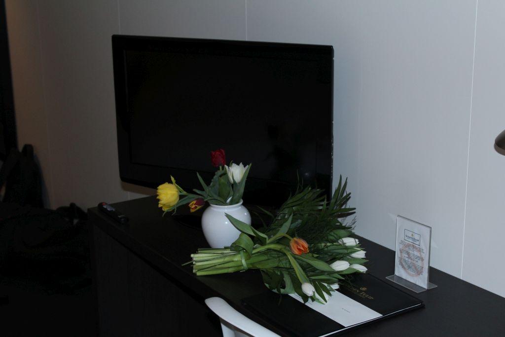 Flat Screen TV and tulips back from Keukenhof