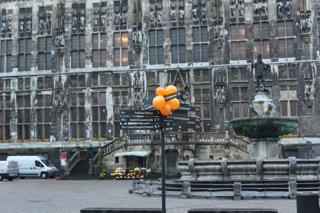 Tourist Signs near Aachen Town Hall