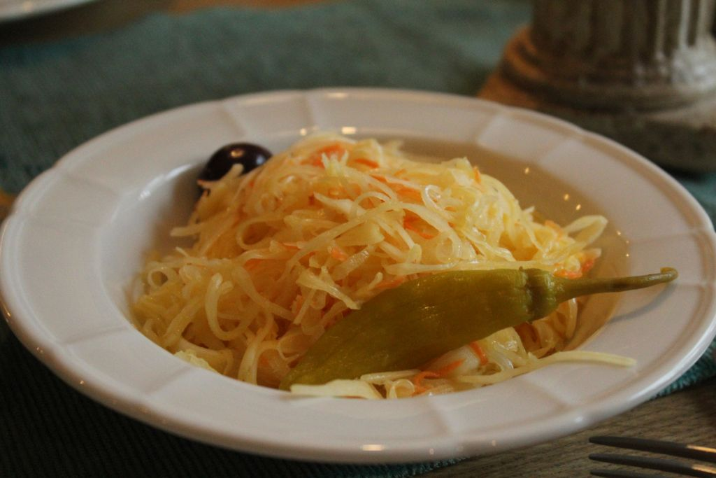 Sauerkraut, olive and a pickled pepper