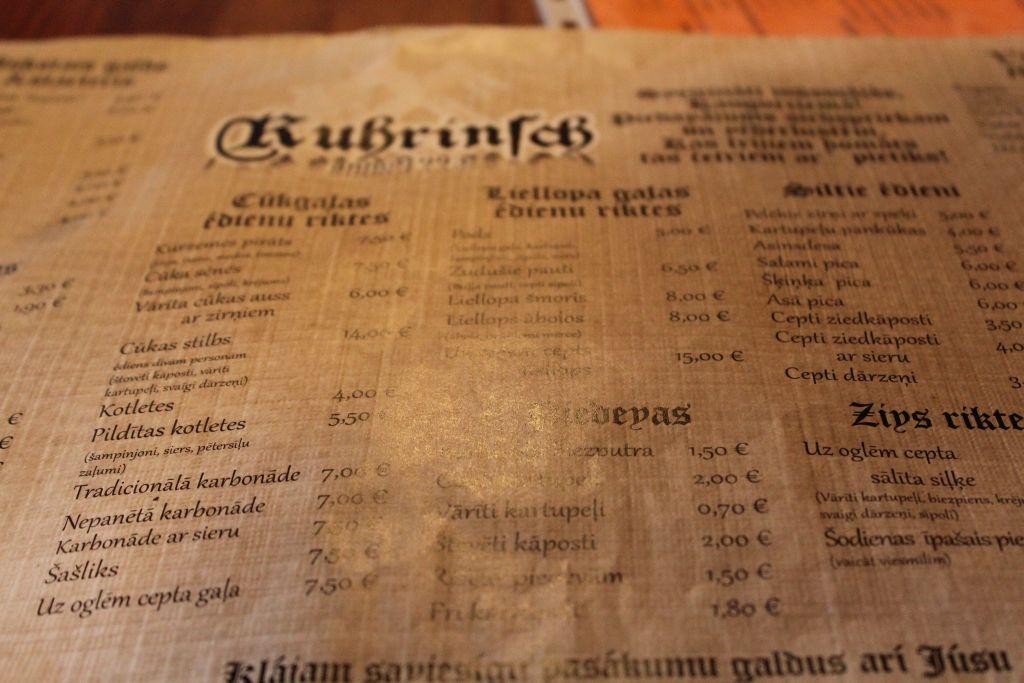 Menu at Restaurant Kūriņš