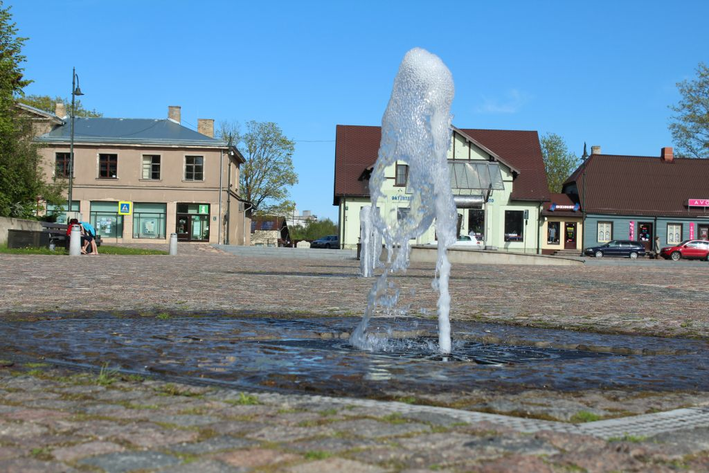 Fountains built in the pavement