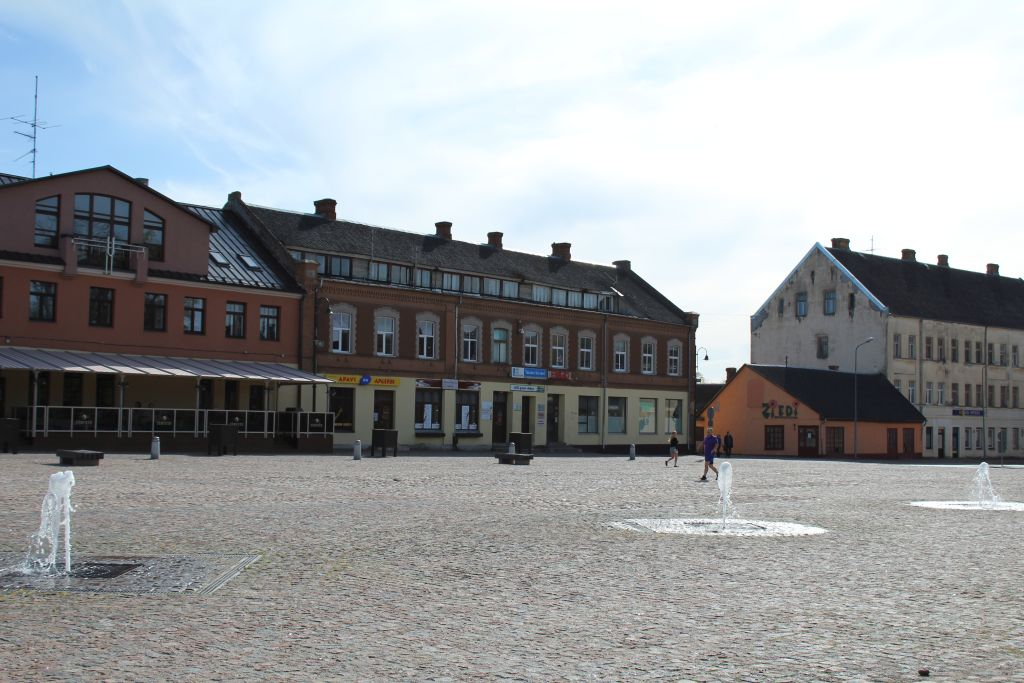 Fountains built into pavement at Dobele Marketplace square
