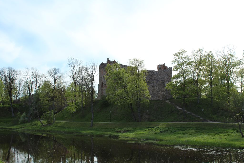 Dobele castle ruins iew from the distance