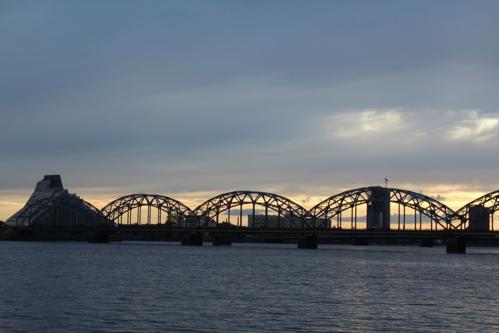 The Iron Bridge and National Library of Latvia