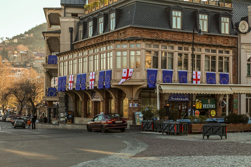 Georgian and European Union Flags in streets of Tbilisi
