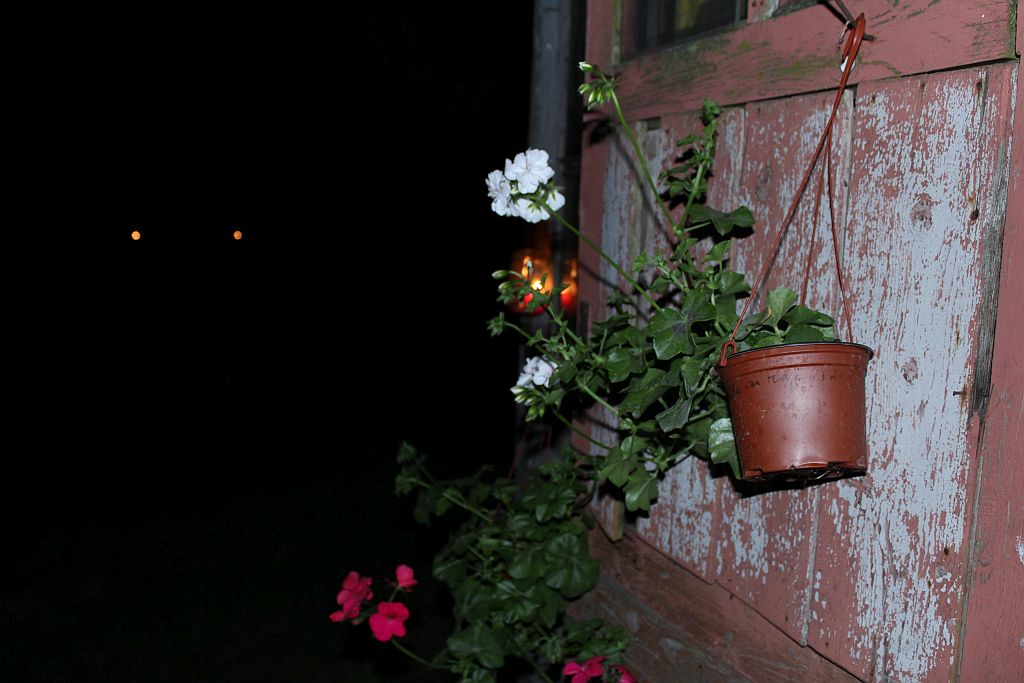 Candles in jars - outdoor decoration