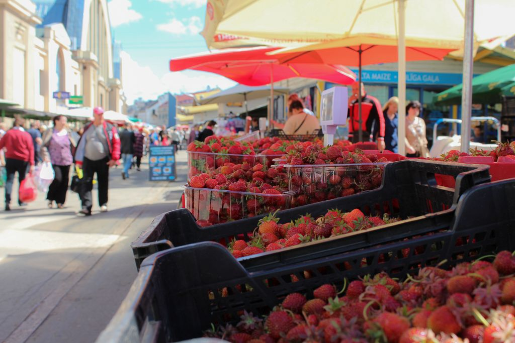 Strawberries for sale at Riga Central market