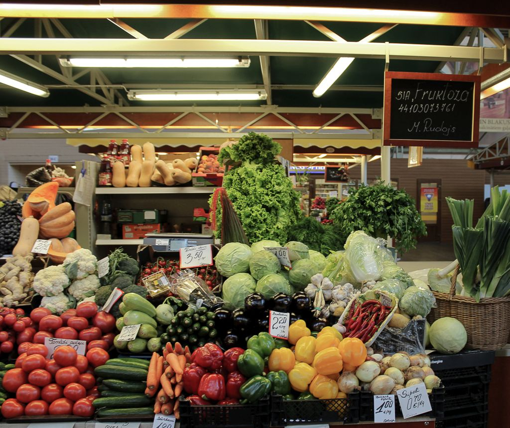 Fruits and vegetables for sale at Riga central market