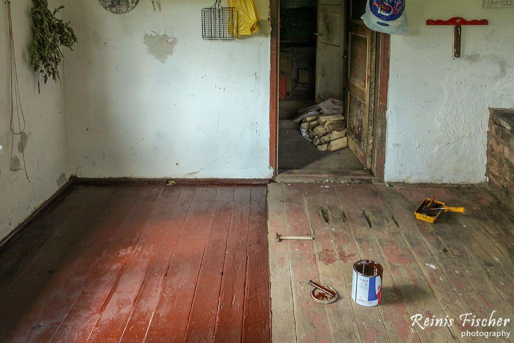 Half floor painted