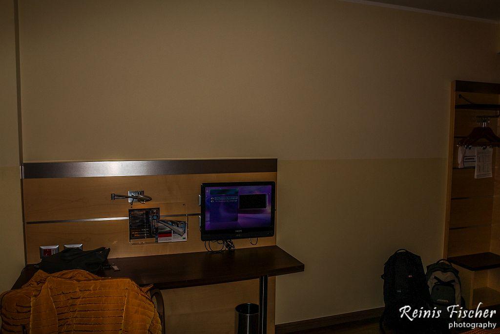 Small TV set at Holiday Inn Express Milan/Malpensa Airport hotel