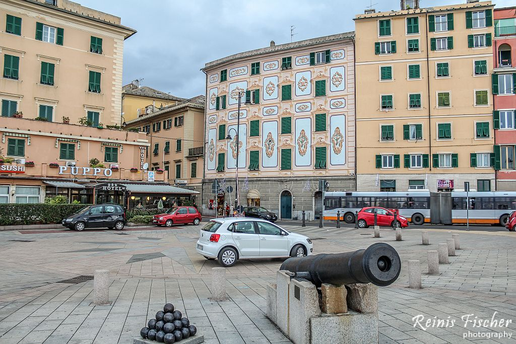 Our Volkswagen Polo parked next to Puppo hotel in Genoa