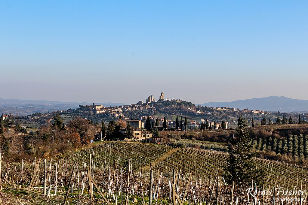 View to Italian town from distance in Tuscany