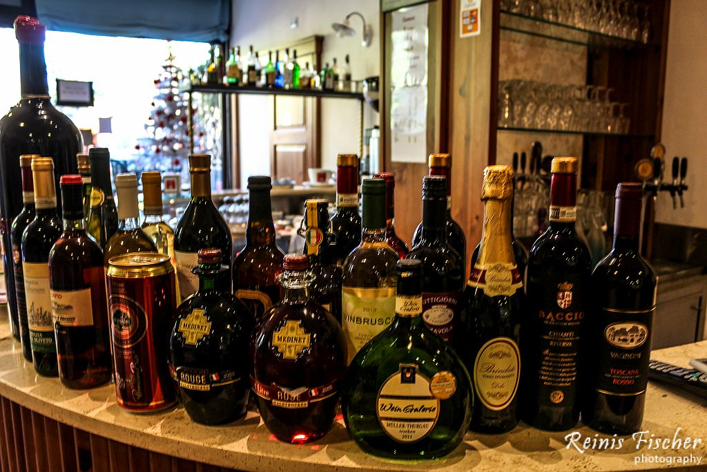 Wide selection of drinks at i Fossi restaurant / bar